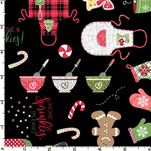 We Whisk You a Merry Christmas PER YARD -Kim Christopherson-Kimberbell Designs- Maywood MAIN Print on Black - RebsFabStash