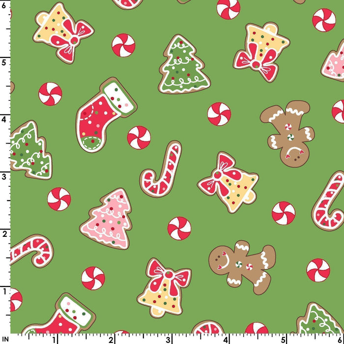We Whisk You a Merry Christmas PER YARD -Kim Christopherson-Kimberbell Designs- Maywood - Multi color pin dot on Red - RebsFabStash