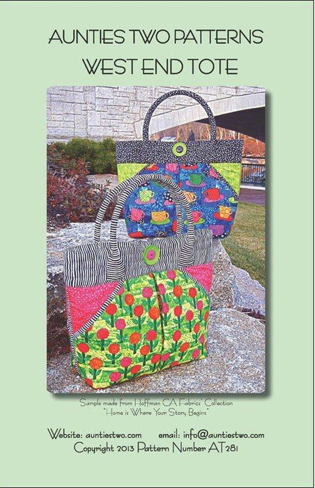 "West End Tote Pattern - Aunties Two Patterns - 12"" x 12"" x 5"" - RebsFabStash"