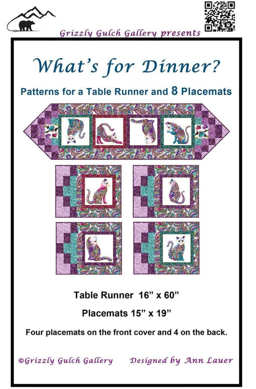 What's for Dinner Quilt Pattern by Ann Lauer - pattern for Placemats and table runner with Cat-I-Tude fabric! - Grizzly Gulch Gallery - RebsFabStash