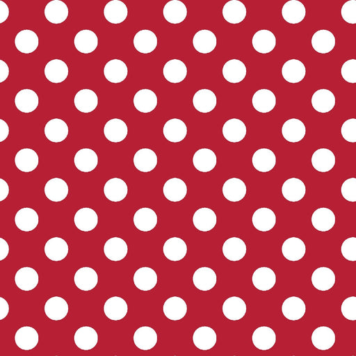 White dots on red- Per Yard- Kimberbell Basics - Maywood Studio - MAS 8216-R - RebsFabStash