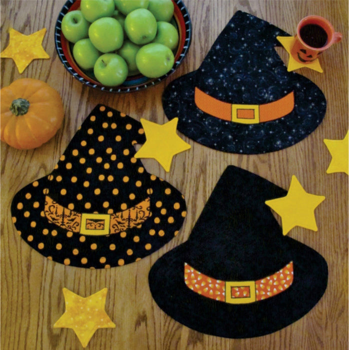 Winifred's Party - Placemats and mug mats, Table Topper - Pattern - by Susie Shore Designs - Witch hat, Halloween, Sew cute! Great gift! - RebsFabStash