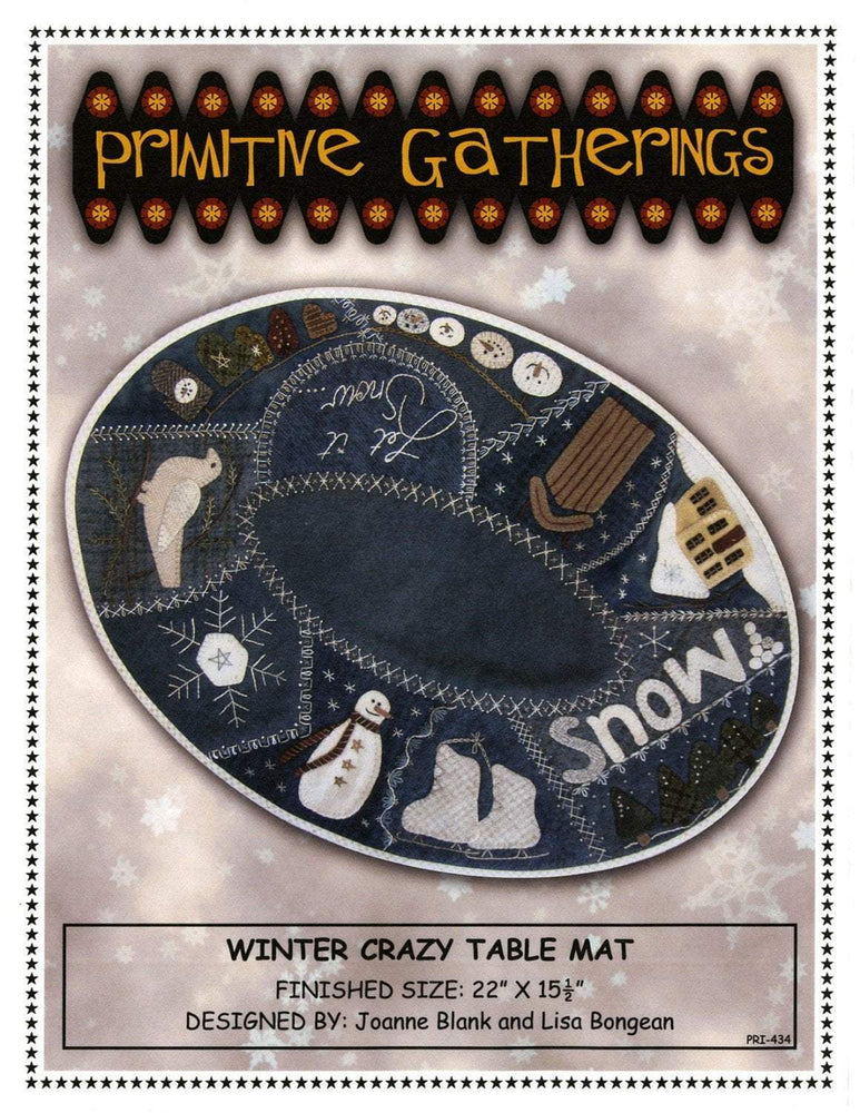 Winter Crazy table mat/topper - Pattern - Designed by Lisa Bongean Primitive Gatherings - Flannel or Wool applique - RebsFabStash