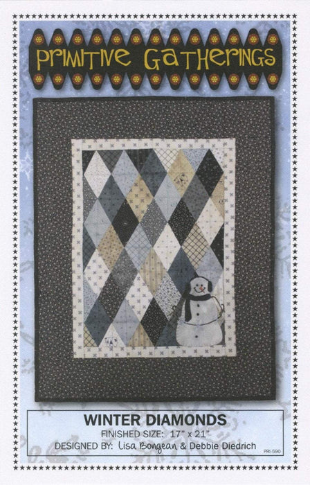Winter Diamonds- quilt or wall hanging pattern- Primitive Gatherings by Lisa Bongean -Wool, Applique, Charm pack friendly #590, snowman - RebsFabStash