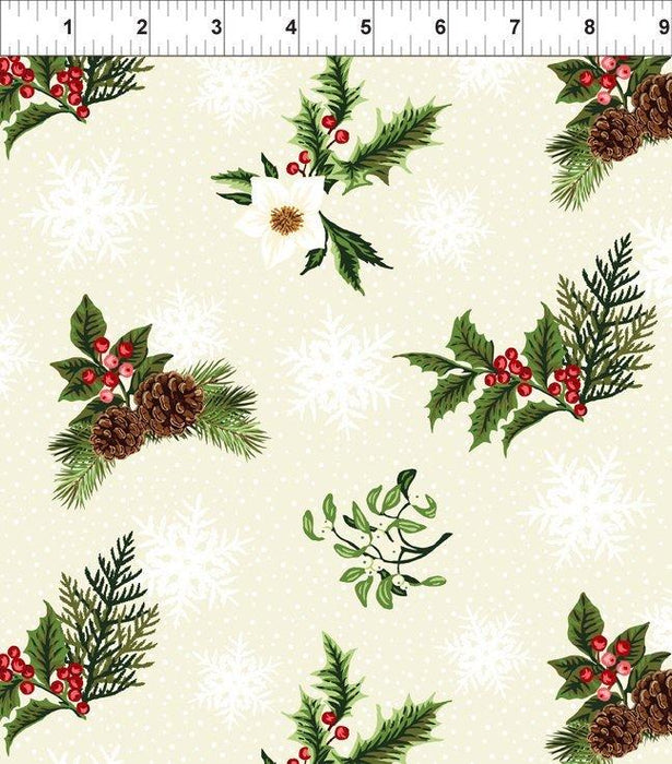 Winter Twist - Sold by the yard - In the beginning Fabrics by Jason Yenter - Lg Floral on White 1WT 1 - RebsFabStash