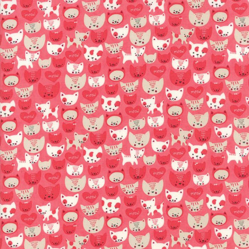 Woof Woof Meow - per yard - fabric by Stacy Iest Hsu for Moda - dogs, cats cute! - Cat heads on pink 20565 18 - RebsFabStash