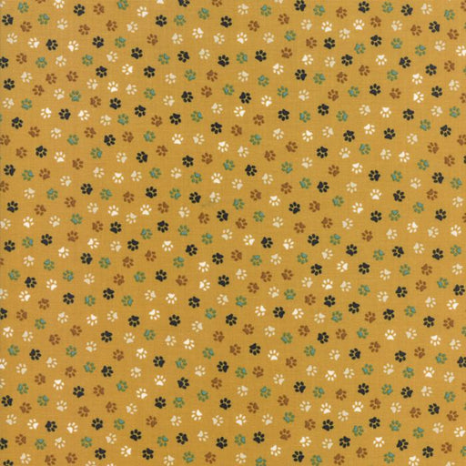 Woof Woof Meow - per yard - fabric by Stacy Iest Hsu for Moda - dogs, cats cute! - paw prints on gold 20568 13 - RebsFabStash
