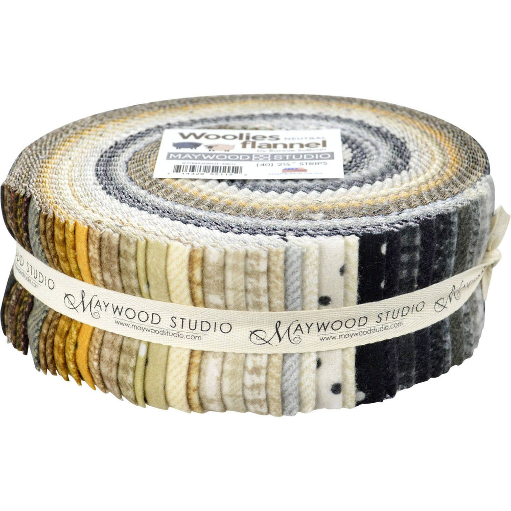 "Woolies -FLANNEL Jelly Roll (40) 2.5"" strips - Maywood Studio - by Bonnie Sullivan - Neutrals - C - RebsFabStash"