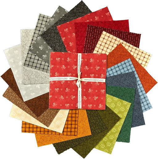 "Woolies -FLANNEL Layer Cake - 10"" squares (42) - Maywood Studio - by Bonnie Sullivan - HERITAGE - SQ-MASHWF - These will go fast!! - RebsFabStash"