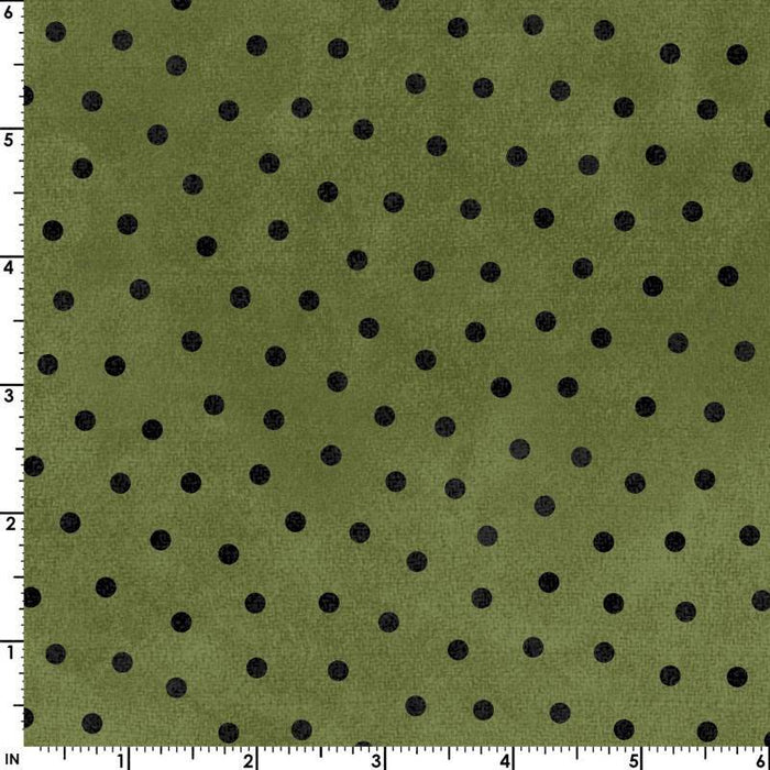 Woolies FLANNEL - Per Yard- Bonnie Sullivan for Maywood Studio - MASF 18506 - K - Black Dots on Grey - RebsFabStash