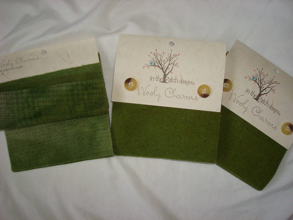 "Wooly Charms ""Avocado"" by In the Patch Designs - (5) 5"" x 5"" squares of felted hand dyed wools, applique - RebsFabStash"