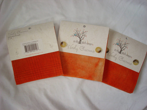"Wooly Charms ""Deep Persimmon"" by In the Patch Designs - (5) 5"" x 5"" squares of felted hand dyed wools, applique - RebsFabStash"