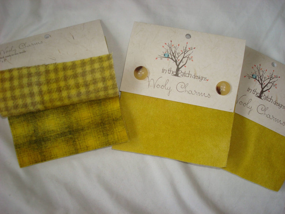 "Wooly Charms ""Goldenrod"" by In the Patch Designs - (5) 5"" x 5"" squares of felted hand dyed wools, applique - RebsFabStash"