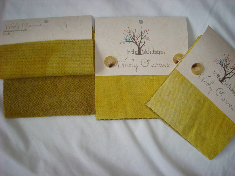 "Wooly Charms ""Honey"" by In the Patch Designs - (5) 5"" x 5"" squares of felted hand dyed wools, applique - RebsFabStash"