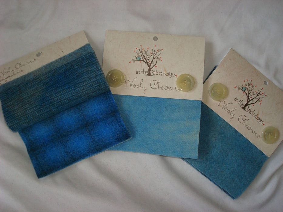 "Wooly Charms ""Powder Blue"" by In the Patch Designs - (5) 5"" x 5"" squares of felted hand dyed wools, applique - RebsFabStash"