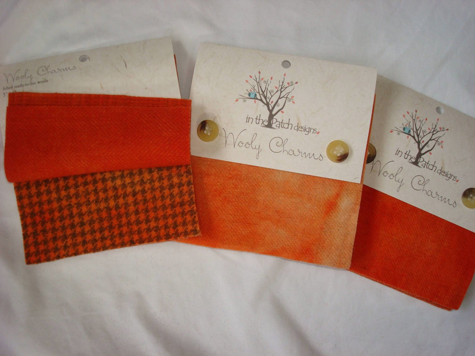 "Wooly Charms ""Primitive Pumpkin"" by In the Patch Designs - (5) 5"" x 5"" squares of felted hand dyed wools - Orange, pumpkin, fall, applique - RebsFabStash"