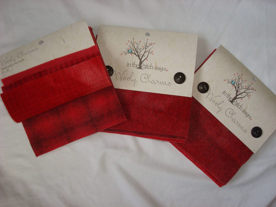 "Wooly Charms ""Red"" by In the Patch Designs - (5) 5"" x 5"" squares of felted hand dyed wools, applique - RebsFabStash"