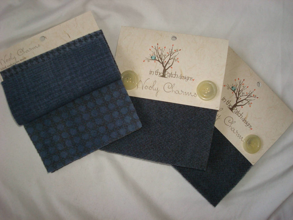 "Wooly Charms ""Shadow"" by In the Patch Designs - (5) 5"" x 5"" squares of felted hand dyed wools, beautiful greyish blue, applique - RebsFabStash"