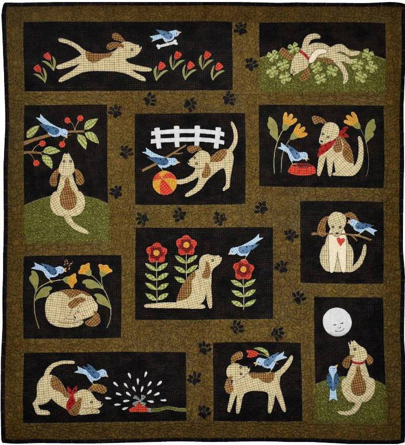 You Lucky Dog - Block of the Month Quilt Pattern - Bonnie Sullivan - Complete Set 11 blocks - Flannel or Wool - All Through the Night - RebsFabStash