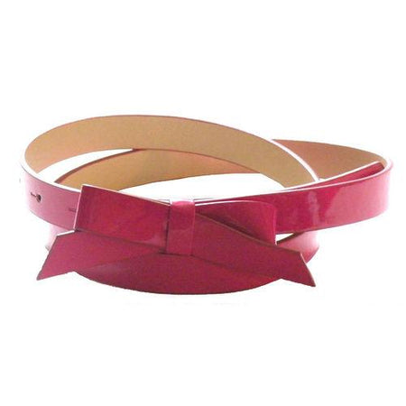 Dressy Skinny Leather Bow Belt