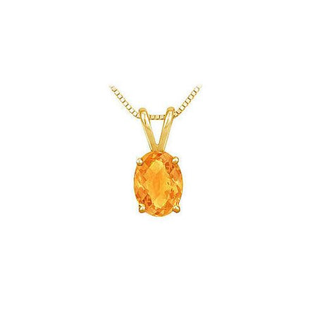 Citrine Solitaire Pendant : 14K Yellow Gold - 1.00 CT TGW