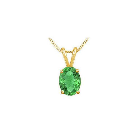 Emerald Solitaire Pendant : 14K Yellow Gold - 1.00 CT TGW