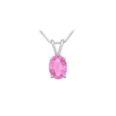 Pink Sapphire Solitaire Pendant : 14K White Gold - 1.00 CT TGW