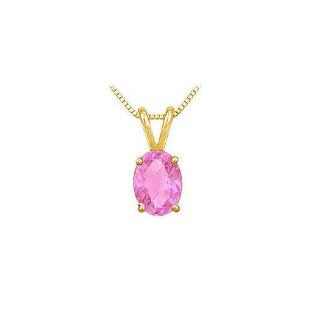 Pink Sapphire Solitaire Pendant : 14K Yellow Gold - 1.00 CT TGW