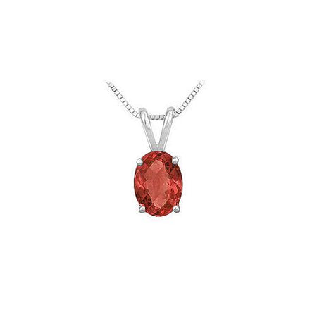 Ruby Solitaire Pendant : 14K White Gold - 1.00 CT TGW