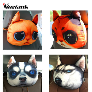 Car Headrest Pillow Head Creative 3D Animal Cat Dog Emoji Car Seat Neck Rest Headrest Pillow Seat Back With Carbon Bag