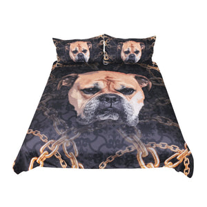 BeddingOutlet Bulldog Bedding Set for Kids 3D Printed Duvet Cover With Pillowcase Dog Bed Set Animal Bedclothes
