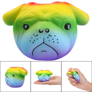 11cm Rainbow Dog Squishy Cream Scented Slow Rising Stress Reliever Squeeze Toy
