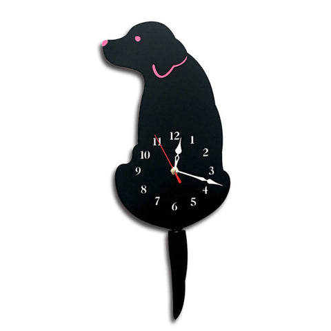 Clock Cute Lovely Creative Acrylic Cartoon Tail Wagging Labrador Dog Pattern Acrylic Bracket Wall Clock for Room Kitchen Bedroom Office