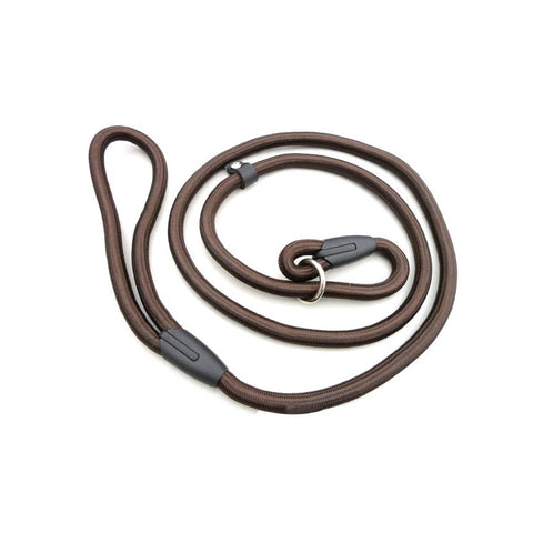 0.8*140cm Pet Dog Nylon Adjustable Loop Training Lead Collar Leash Traction Rope (Coffee)