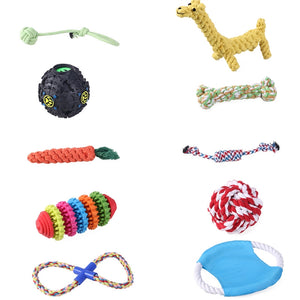 10 PCS Pet Dog Chew Rope Toys Set Dog Toys Puppy Cotton Teeth Cleaning Toys and Training Toy