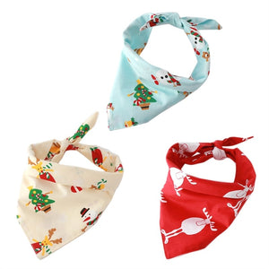 3Pc Cute Dog Bib Cool and Comfortable Dog Triangular Bandage Scarf Pet Dog Collar Christmas Deer Printed Saliva Towel (Red Blue Yellow)