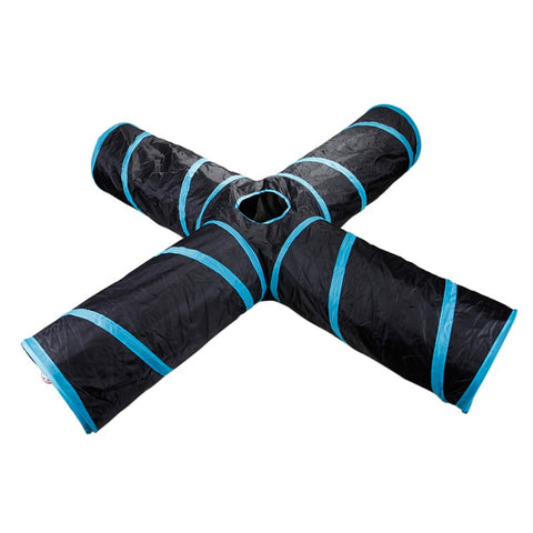1Pc Foldable Pet Animal Tunnels 4 Way Tubes with Crinkle Playing Toy for Dogs Cats Guinea Pig Rabbits