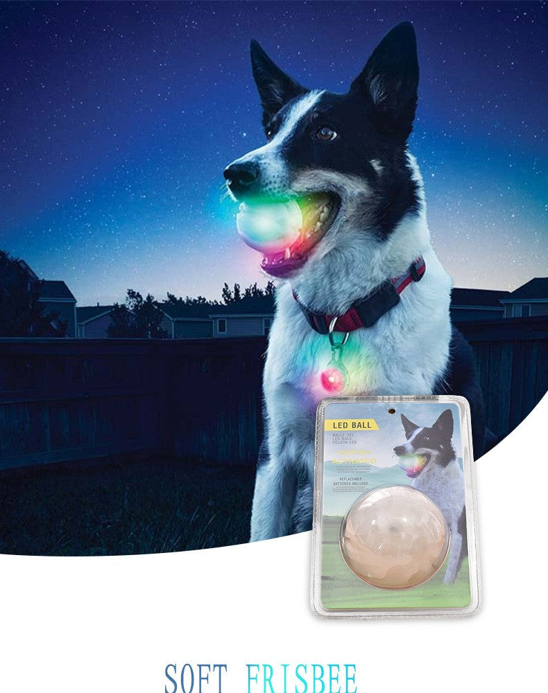 LED Lighting Glowing Rubber Pet Dog Ball Toy Outdoor Training Chew Bite Toys Pet Supply For Night Play 80704