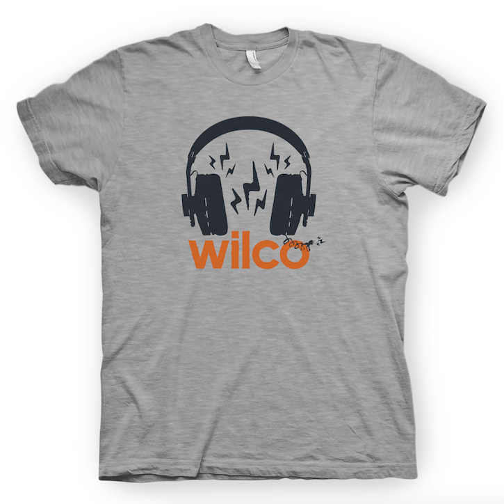 Wilco Headphones design on a greay Tshirt from Bingo Merch Official Merchandise