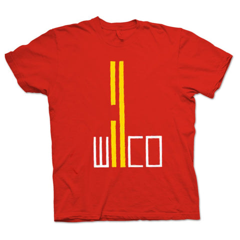 Wilco Red Road design on a red Tshirt from Bingo Merch Official Merchandise
