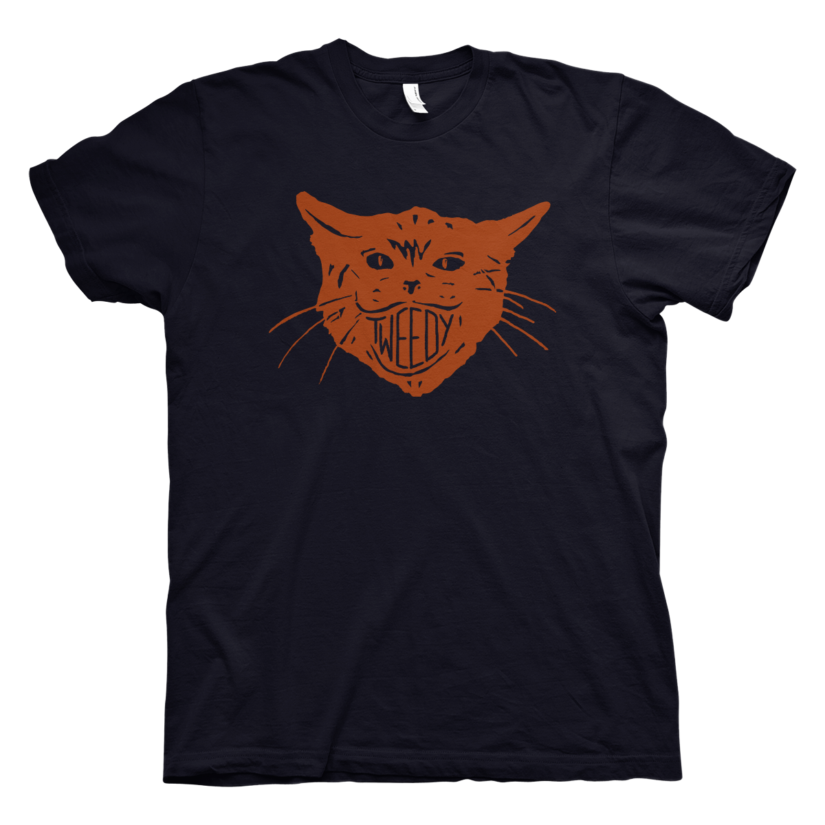 Jeff Tweedy cat artwork on a navy Tshirt from Bingo Merch Official Merchandise