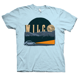 Wilco Blue Moon design on a light blue Tshirt from Bingo Merch Official Merchandise