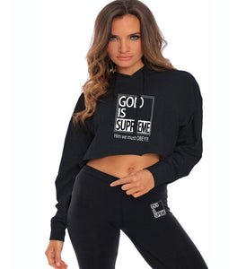 God Is Supreme Black Cropped Hoodie ( Special Edition) - God Is Supreme