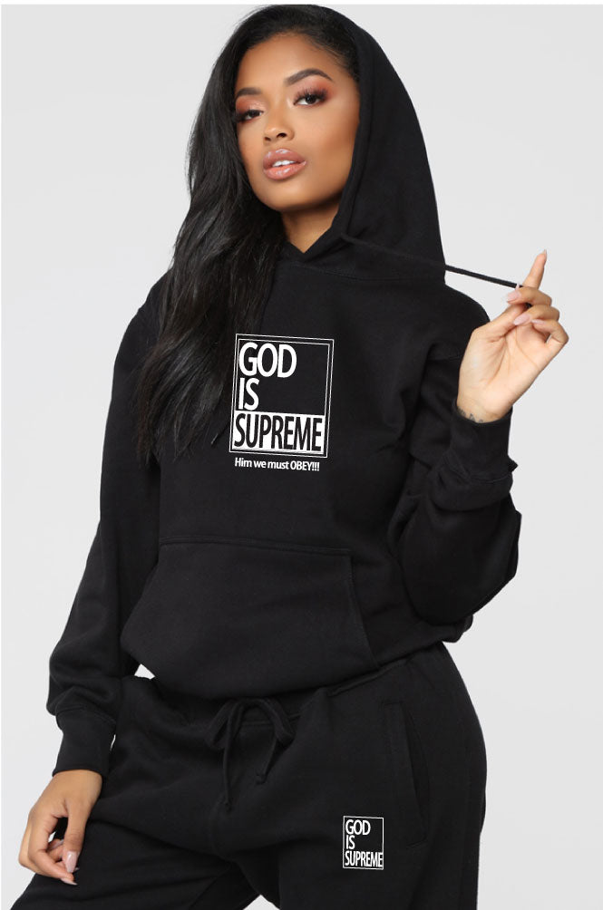 God is Supreme Small White Box / Black Hoodie Sweat Set - God Is Supreme