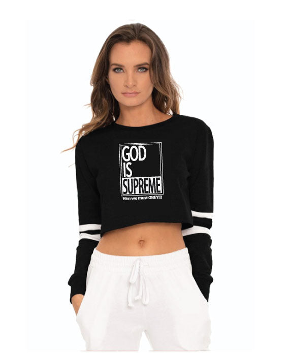 God is Supreme Black Sporty Long Sleeve Crop Top