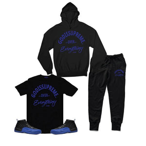 God is Supreme Over Everything Royal Blue/ Black Hoodie Joggers Set