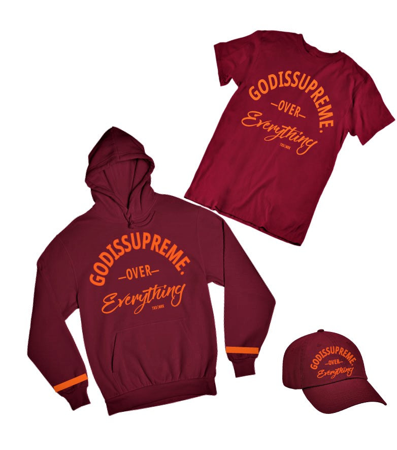 God is Supreme  Over Everything Orange / Maroon T-shirt