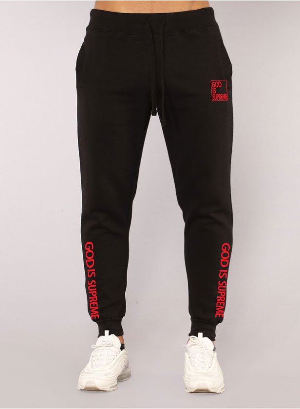God is Supreme Red Box/ Black Hoodie Joggers Set - God Is Supreme