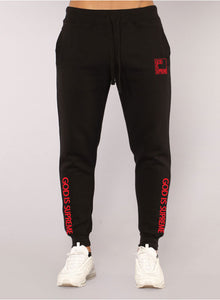 God is Supreme Black/Red Joggers - God Is Supreme