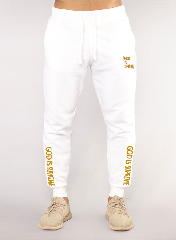 God is Supreme White/Gold Joggers - God Is Supreme
